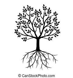 Schwarzer Baum mit Wurzeln. Vector Illustration.