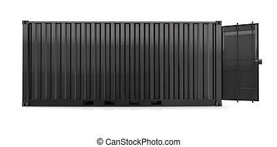 Schwarzer Container auf weißem Hintergrund.