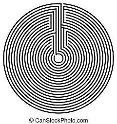 Schwarzer runder Labyrinth