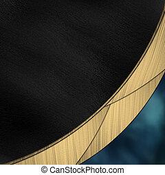 Schwarzer und blauer Hintergrund, geteilt durch einen Goldstreifen
