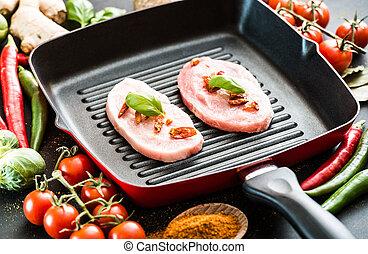 Schweinefleisch in einer Pfanne.