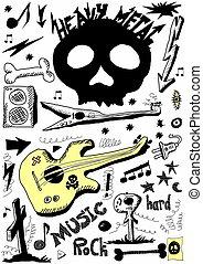 schwer , gekritzel, metall, musik