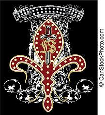 Schwert und Waffen-Emblem
