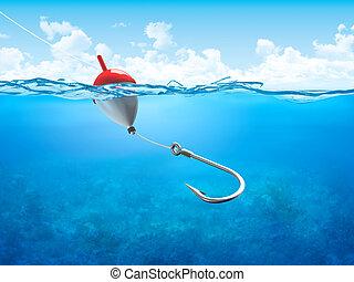 Schwimmen, Angeln und Haken unter Wasser vertikal.