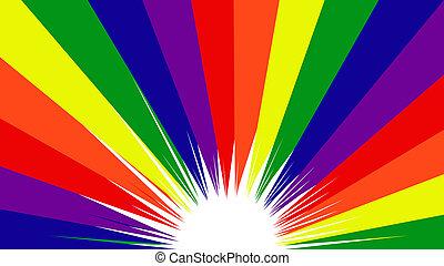 Schwuler Stolz mit Regenbogenfarben im Hintergrund