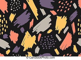 seamless, ästhetisch, schläge, hintergrund, bürste, schwarz, fleck, muster, handauszug, gezeichnet