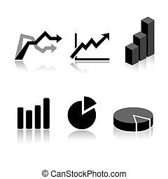 Sechs Graph-Ikon-Varianten