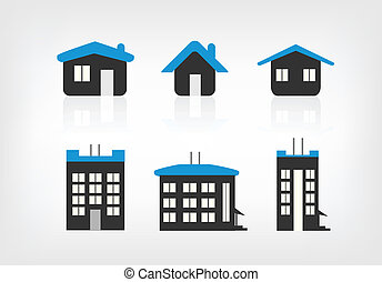 Sechs Haus-Ikon-Varianten
