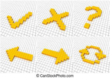 Sechs orangene Ikonen im Netz. 3D bestätigt.