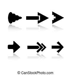 Sechs Pfeil-Ikon-Varianten
