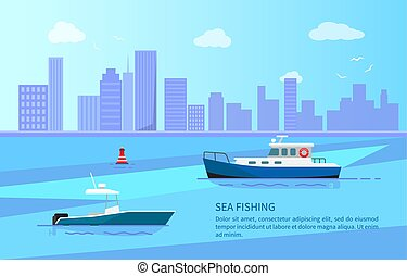 Seefischerei auf Motorbooten in der Nähe der langen Küstenlinie