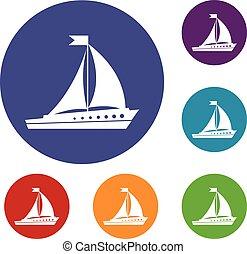 Segeln auf Schiffssymbolen eingestellt.