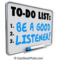 sein, guten, liste, hörer, hören, lernen, verstehen, gedächtnisstütze