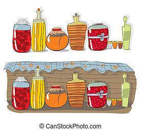 selbstgemacht, marmelade, regal, gewürz