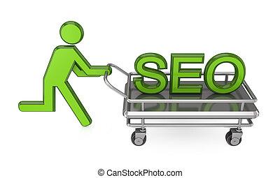 seo., pushcart, person, groß, 3d, wort, klein
