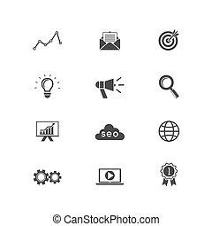 SEO und Suchmaschinen-Icons.