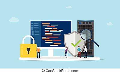 server, ikone, sicherheit, vektor, vernetzung, begriff, sicher, code, programm, -, programmierung