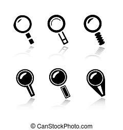 Set of 6 magnifier / search icon variations.