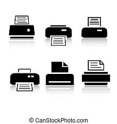 Set von 6 Drucker Icon Variationen.