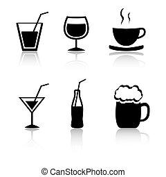 Set von 6 Getränke Icon Variationen.
