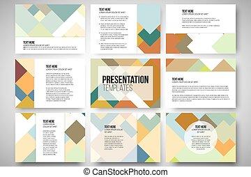 Set von 9 Vorlagen für Präsentationsfolien. Abstract colored Hintergrund, quadratisches Design vektorgrafik