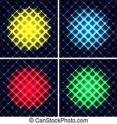 Set von abstrakten Neonlicht schwarz Textur Vektor Illustration.