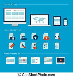 Set von flachen Design Icons für Web
