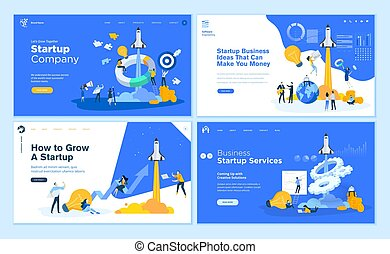 Set von flat design web page templates of startup company, business ideas, consulting, crowdfunding.