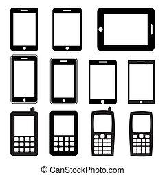 Set von Mobiltelefonen und Tabletten.
