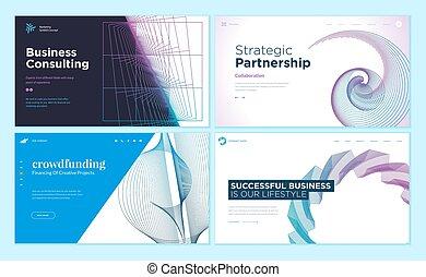 Set von Web-Seite Design Vorlagen mit abstraktem Hintergrund
