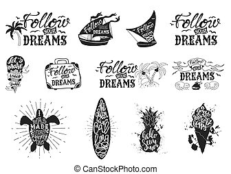 Set with typography posters, lettering inside the Hand draw graphics of isoliert black silhouette on a white background with ink splashes. Die Inschriftsmotivation