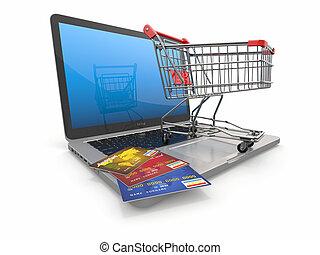 shoppen, laptop, karren, kredit, e-commerce., karten
