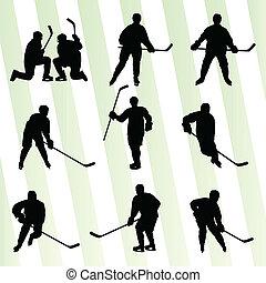 silhouette, abstrakt, eis, spieler, vektor, hockey, hintergrund, sport