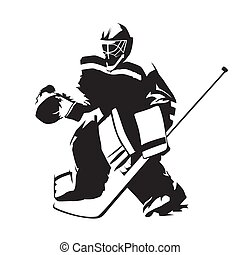silhouette, abstrakt, eis, vektor, hockey, torwart