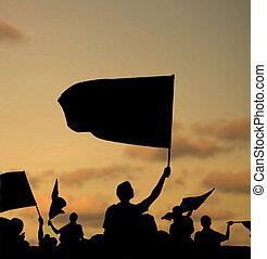 Silhouette der Demonstranten