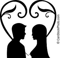 Silhouette einer Frau und Männer in Liebesvektoren