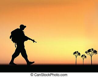 Silhouette eines Soldaten der Armee