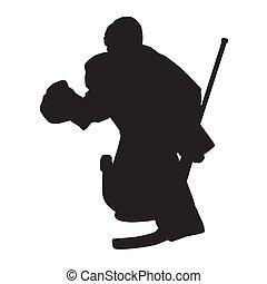 silhouette, eis, vektor, bewegen, hockey, torwart