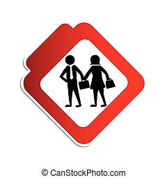 Silhouette Farbstraße mit Piktogramm Führungskräfte Mann und Frau.