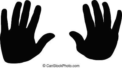 silhouette, hände, vektor