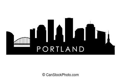 silhouette., portland, skyline