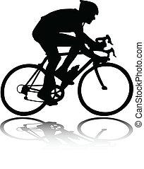silhouette, radfahrer