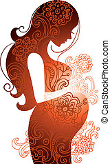 Silhouette schwangerer Frau.