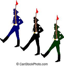 Silhouette Soldaten während einer Militärparade. Vector illustratio