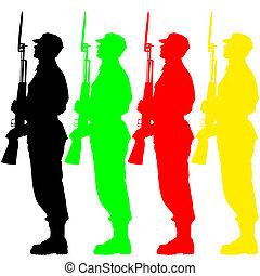 Silhouette-Soldaten während einer Militärparade. Vektor Illustration.