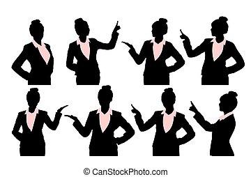 Silhouette von Geschäftsfrau.