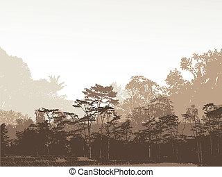 silhouette, wald, hintergrund