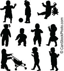 silhouetten, babys