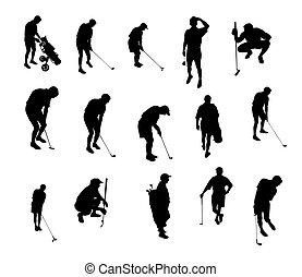 silhouetten, golfen, spielende
