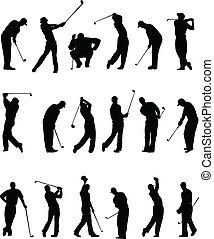 silhouetten, golfspieler